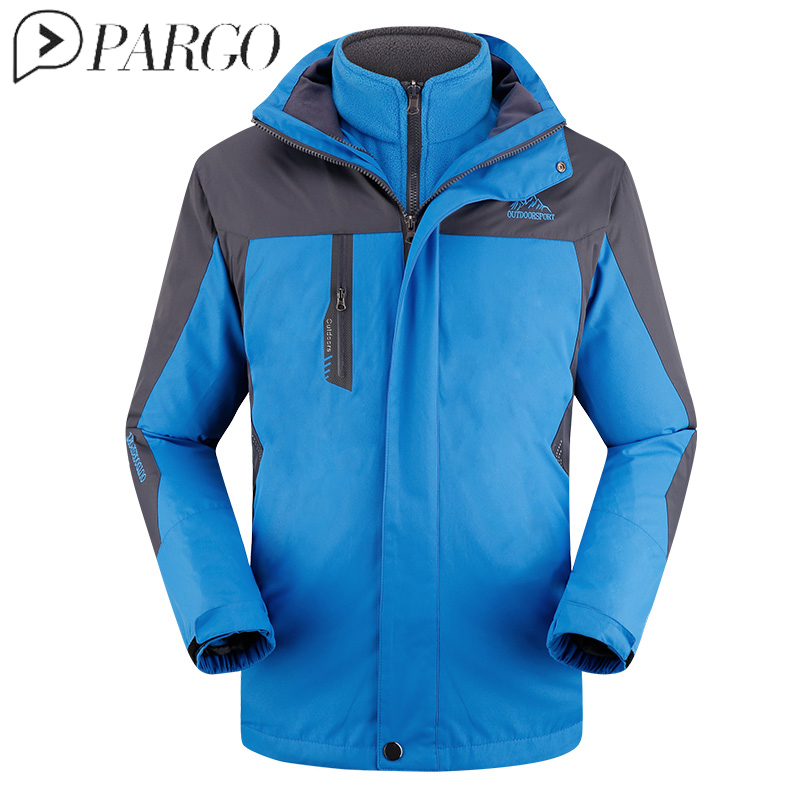 PARGO Mens Softshell Hiking Jackets Male Outdoor Camping Trekking Climbing Coat Sport Warm Brand 3 in 1 Two Pieces Windbreaker yin qi shi man winter outdoor shoes hiking camping trip high top hiking boots cow leather durable female plush warm outdoor boot