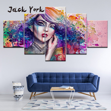 Canvas Painting abstract portrait watercolor shy girl 5 Pieces Wall Art Modular Wallpapers Poster Print Home Decor