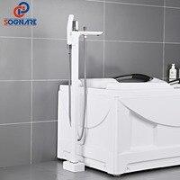 SOGNARE Bathtub Floor Stand Faucet 360 Rotation Spout With Handshower Bath Mixer Shower Faucet Mixer Set White Bathroom Faucets