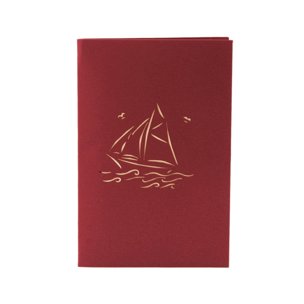3D Pop up Greeting Cards Smooth Sailing Envelope Post Card Birthday ...