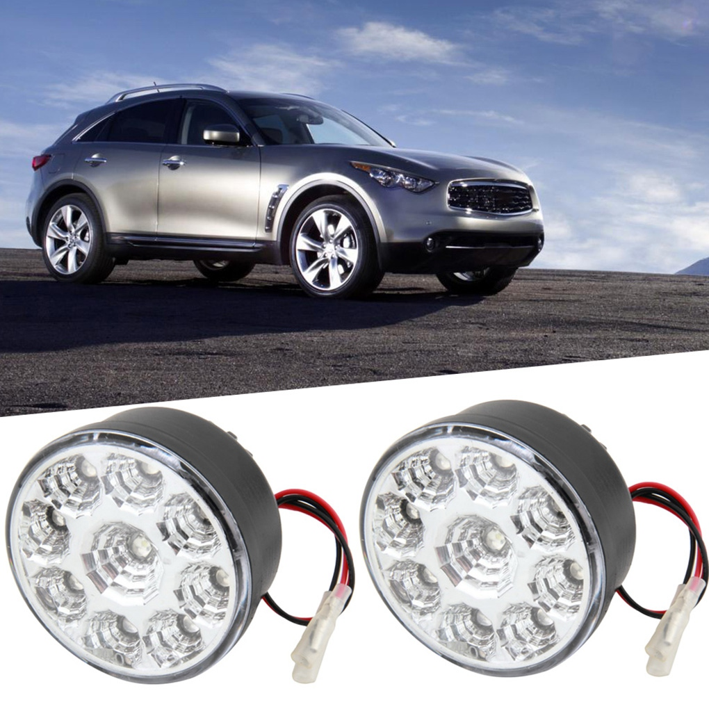 2PCS Universal Car LED Round Daytime Driving Light Running Lamp Fog Lamp Headlight Waterproof White Light dls flatbox slim mini