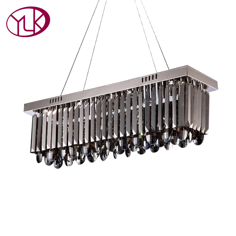 New Modern Smoky Gray Crystal Chandelier Dining Room Rectangle Bar Coffee Lighting Fixture LED Lustre De Cristal Home Lamps