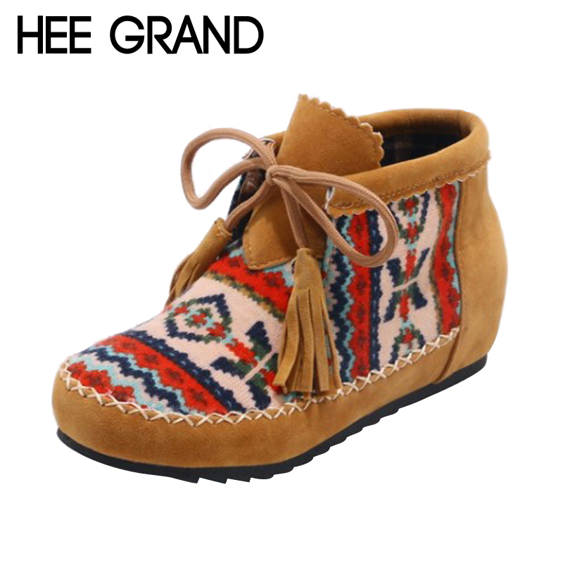 HEE GRAND 2017 Bowtie Embroider Women Ankle Boots Solid Fringe Boots Ladies Fashion Gladiator Tassel Flat Shoes Woman XWX6405 hee grand inner increased winter ankle boots warm fringe fashion platform women snow boots shoes woman creepers 3 colors xwx6180