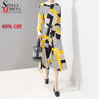 2019 Korean Style Women Summer Dress A Line Sashes Long Sleeve Striped Printed Female Casual Party Club Dresses Robe Femme 4841