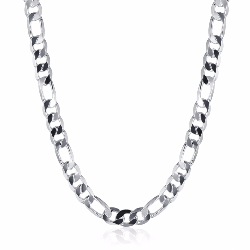 Selling 925 sterling silver jewelry men's 10mm three a 20-inch simple figaro silver necklaces DIY accessories free shipping