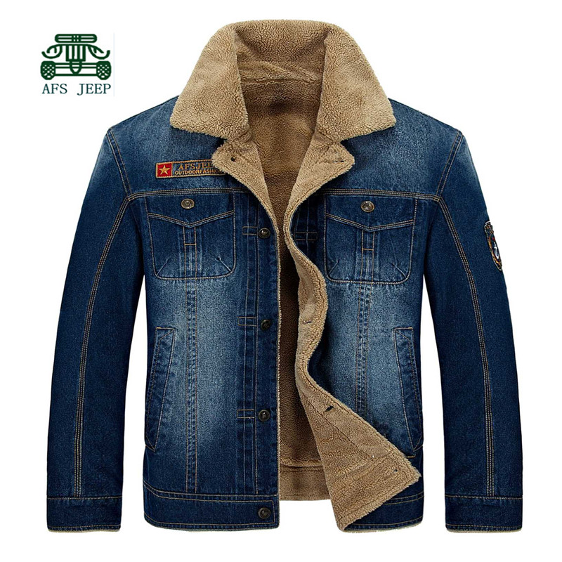AFS JEEP Cashmere Inner Men's Thick 100% Cotton Denim Coat 2015 Winter,Turn Down Collar thickness Men Motorcycle Warmly Coat кровать из массива дерева xuan elegance furniture