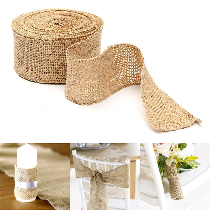 Diy Burlap Wedding Ideas: Multi Sizes Natural Jute Hessian Burlap Ribbon Rustic DIY