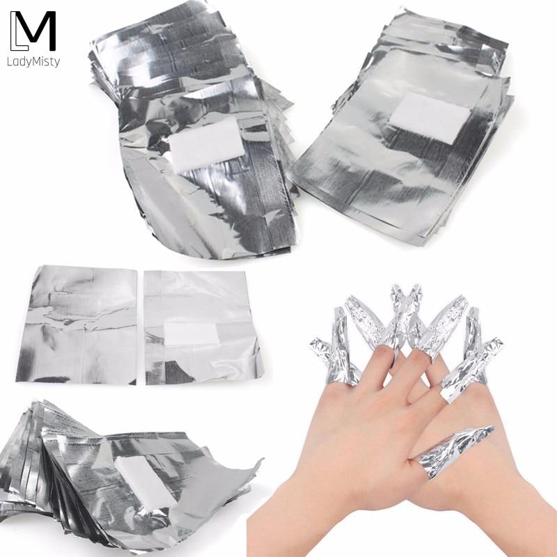 100 Uds con 50 Uds. Removedor de aluminio envuelve el arte de las uñas remojar esmalte de uñas de Gel acrílico herramienta de eliminación de maquillaje