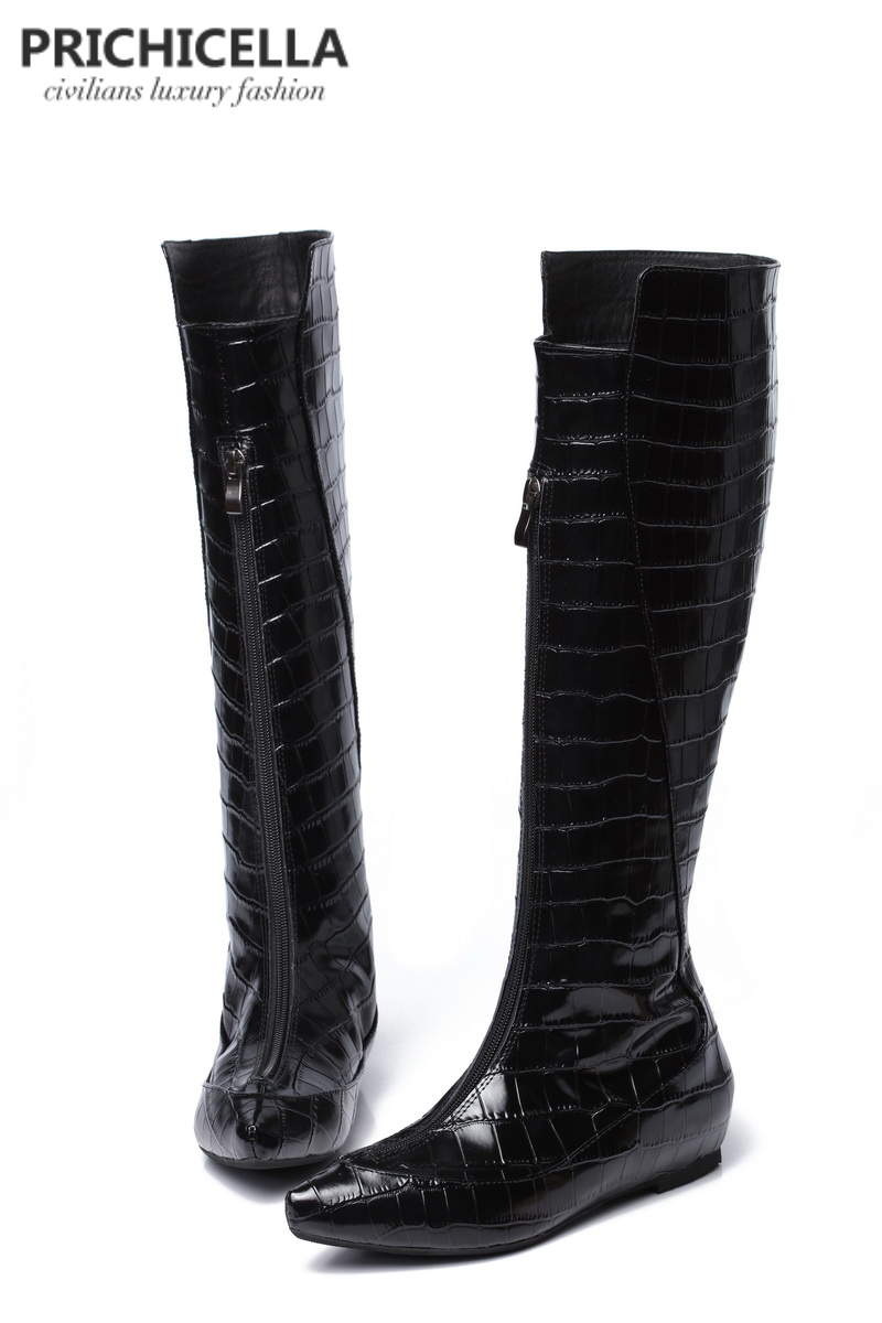 PRICHICELLA genuine leather black crocodile wedge heel knee high boots animal print winter gladiator tall booties