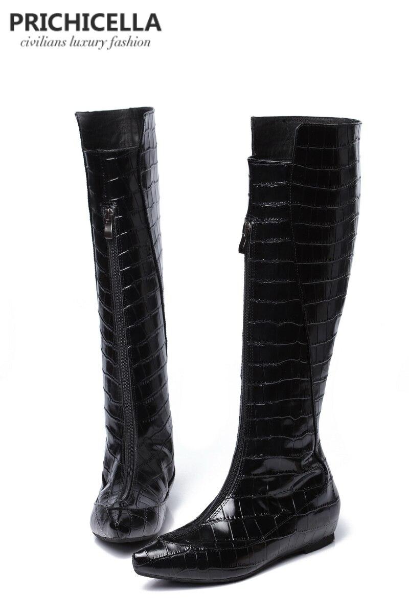 Primichella couro genuíno preto crocodilo cunha calcanhar joelho botas altas animal impressão inverno gladiador botas altas