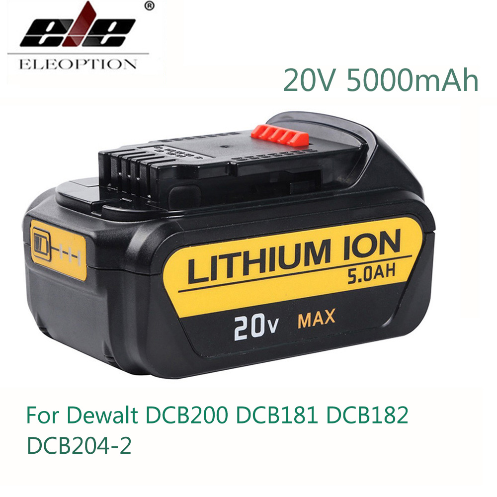 ELEMENTOS ELEOPTION Alta Capacidade 5000 mAh 20 V Li-ion Bateria Para Dewalt 20 V Bateria para Dewalt DCB182 DCB181 DCB200 DCB204-2