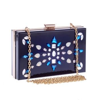 Acryl Evenning Tasche Diamant Geometrische Muster Schwarz Pmma Kupplung Tasche Lange Kette Schulter Handtasche Crossbody Hardcase Kupplungen Tasche