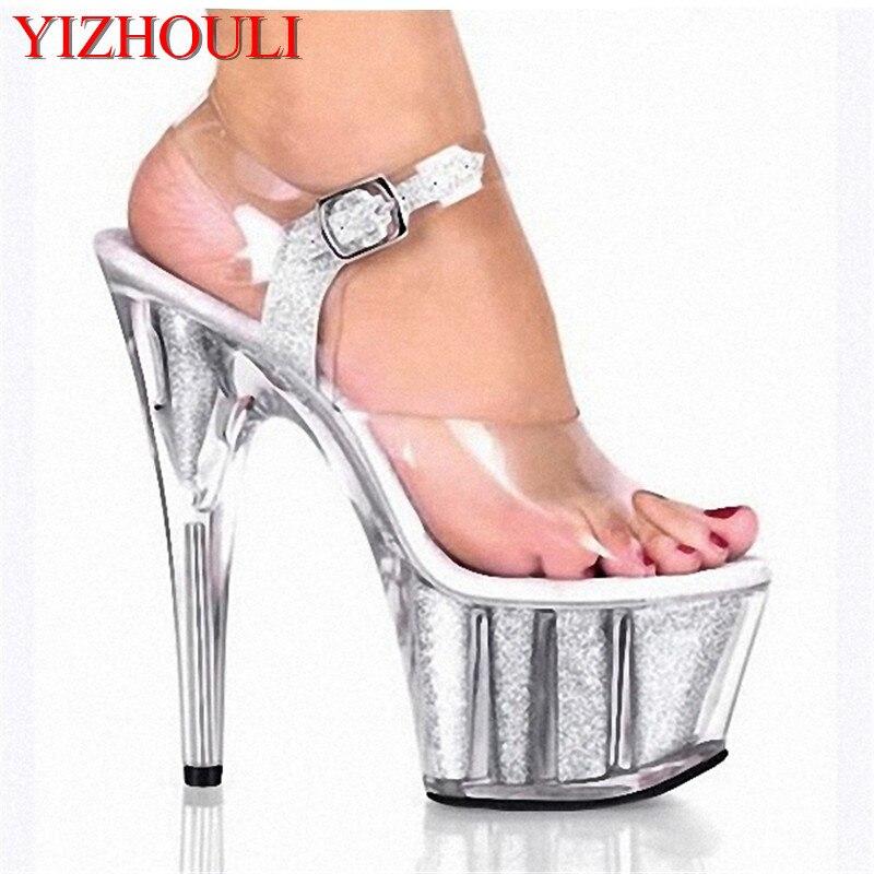 Women's shoe club sexy dance shoes, 15 cm high heel sandals, crystal shoes transparent wedding party shoes kids glitter sandals elegant princess dance wedding dance party leather shoes heel student