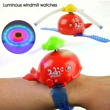 1pc 2017 new fashion children kids cartoon music lights flash whale windmill Wrist luminous toy cute LED Wristwatches gift H3