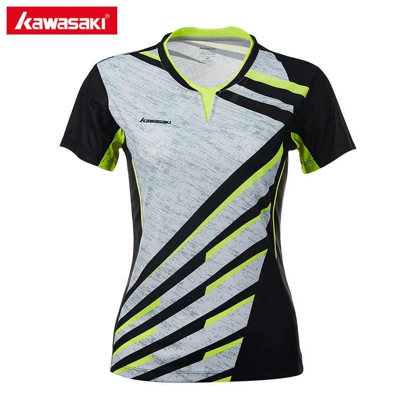 Kawasaki Original 100% Polyester Women Sportswear Badminton Clothes Shirts V-Neck Breathable Tennis T-shirt For Female ST-T2013