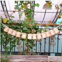 Новое поступление Сельский свадебные украшения флаг Гирлянда Свадьба Баннер с лентой партии украшения (juast замуж) Бесплатная доставка