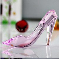 k9 beautiful pink transparent 13cm crystal glass shoes figurines gifts