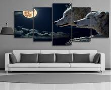 5 Panels HD Printed Night Wolf Animal Painting Canvas Print Room decor print poster Picture Canvas P0136
