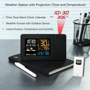 Image 2 - Protmex PT3391 Projectie Weer Klok, Radio Controlled Klok Weer Monitor Indoor/Outdoor Thermometer
