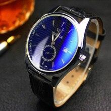 Yazole Manos Luminosas Reloj Calendario Automático de Los Hombres Reloj de Cuarzo de Cuero de Moda Casual de Negocios Reloj de Resistencia Al Agua 30 m