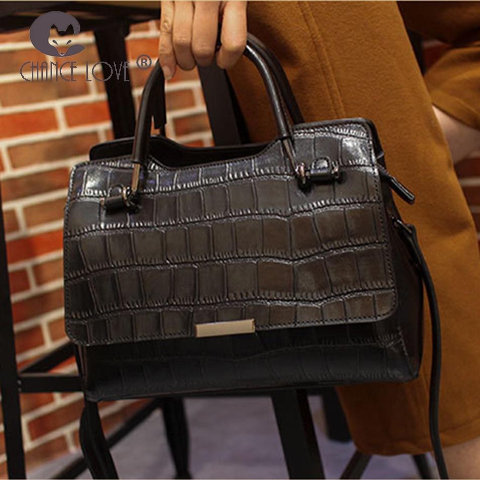 Chance Love 2018 new Genuine leather women's handbag oil wax leather fashion wild crocodile pattern shoulder bag Messenger bag