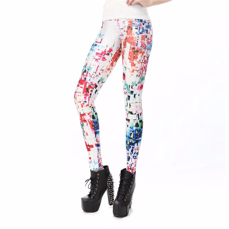 NADANBAO wholelsales New Fashion Women leggings 3D Printed color legins Ray fluorescence leggins pant legging for Woman 25