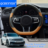 QCBXYYXH Car Styling For VW Tiguan Polo Golf Jetta T ROC Steering Wheel Covers Leather steering wheel Cover Interior Accessory
