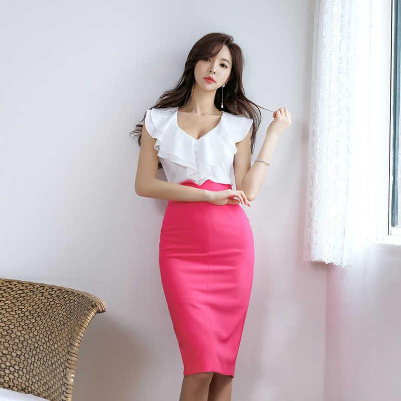エレガントなスカートセット女性 2019 夏の韓国スタイル 2 個スーツ女性のセクシーなフリル白シャツトップ & シース鉛筆スカート