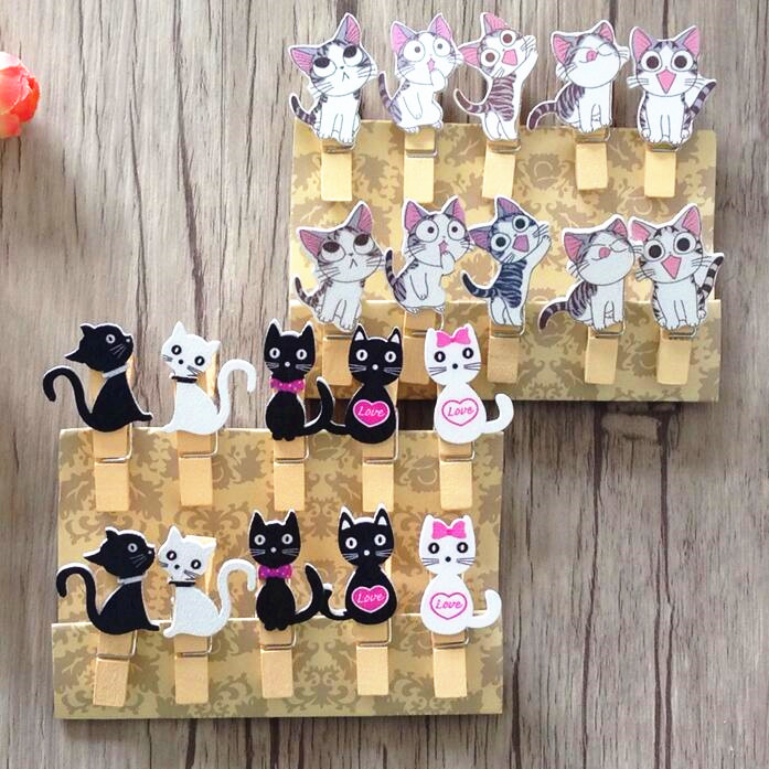 10packs/lot Kawaii Cat design wooden clips with rope Food clip Nice wood clip for bag Students' DIY tools Office school supplies