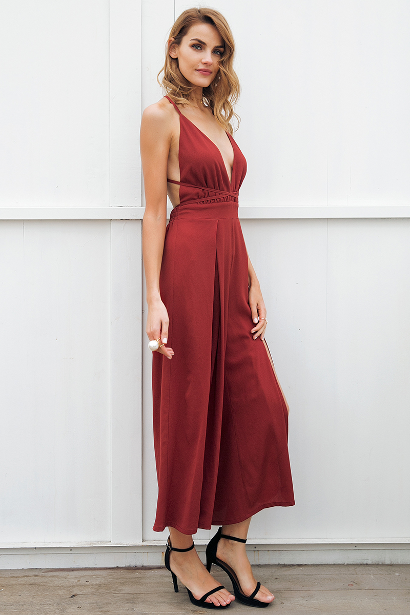 V Neck Backless Lace Up Halter High Waist Split Wide Leg Print Jumpsuit Romper