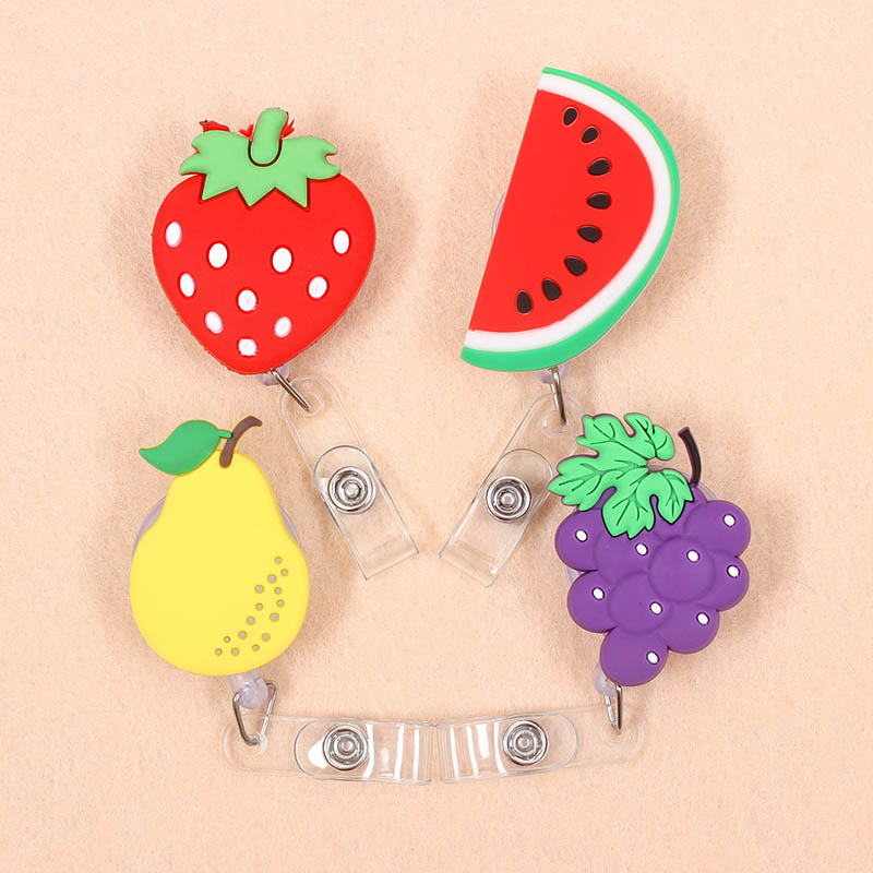 New Cute Fruits Watermelon Strawberry Retractable Pull Badge Reel ID Lanyard Name Tag Card Badge Holder Reels For KIDS