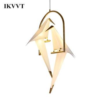 IKVVT nowoczesne papieru żuraw Metal żyrandol dla restauracja salon jadalnia pokój dziecięcy LED ptak projekt lampa wisząca