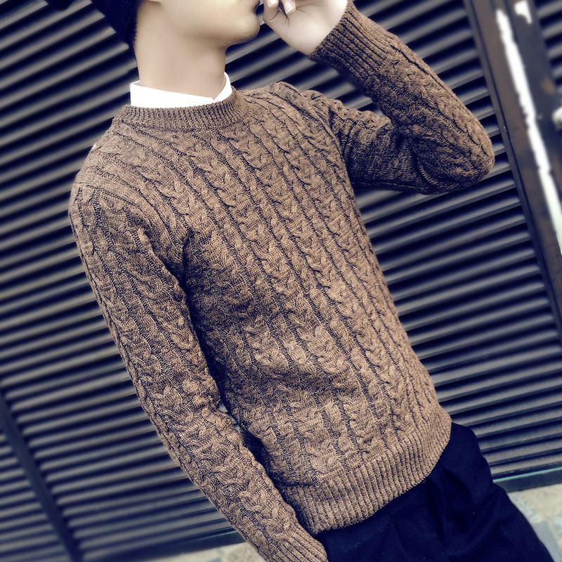 Autumn Round Collar Men's Sweater Coat Thickened Student Pullover Tide Winter Long-sleeved Thread Dress Plus Size M--XXXL
