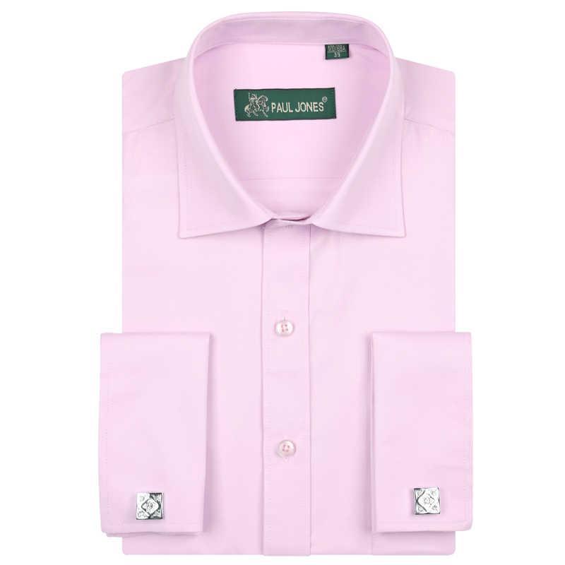 男性のフレンチスタイルのドレスシャツ男性タキシードシャツ高品質ブランドメンズ服フォーマルシャツ結婚式/ パーティーソリッドカラー