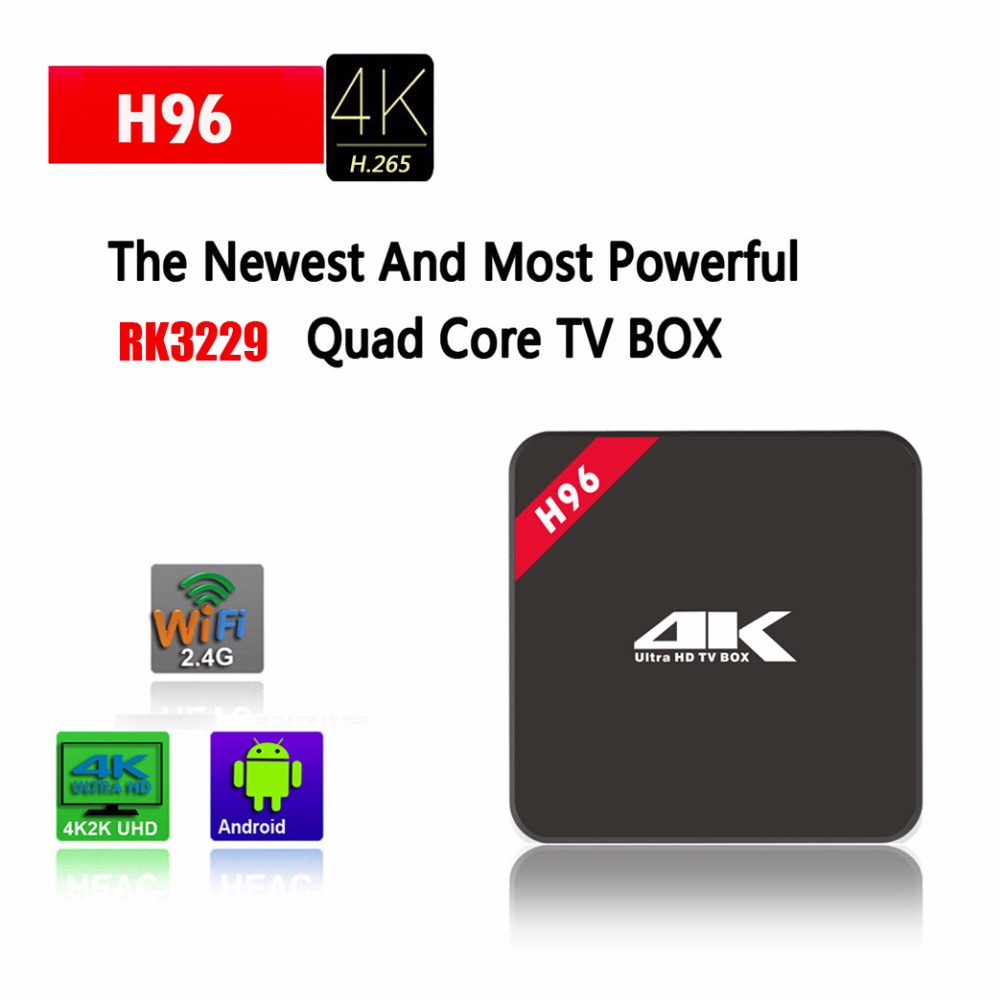 JRGK H96 Android 5.1 TV Box Amlogic RK3229 Quad Core 1.46G 1G 8G Wifi H.265 4K ott tv box wifi 100 LAN Smart set top Box 5pcs android tv box tvip 410 412 box amlogic quad core 4gb android linux dual os smart tv box support h 265 airplay dlna 250 254