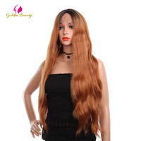 Golden Beauty 28 Lace Front Wig Long Ombre Orange Red Synthetic Hair Wig Loose Wave Hair Wigs For African American Cosplay Wig