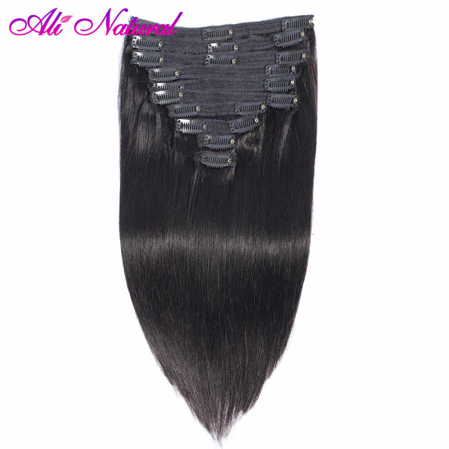 Peruvian Straight Clip In Human Hair Extensions Natural Black Color 10 Pcs/Set 120G Remy Hair Clip Ins Free Shipping