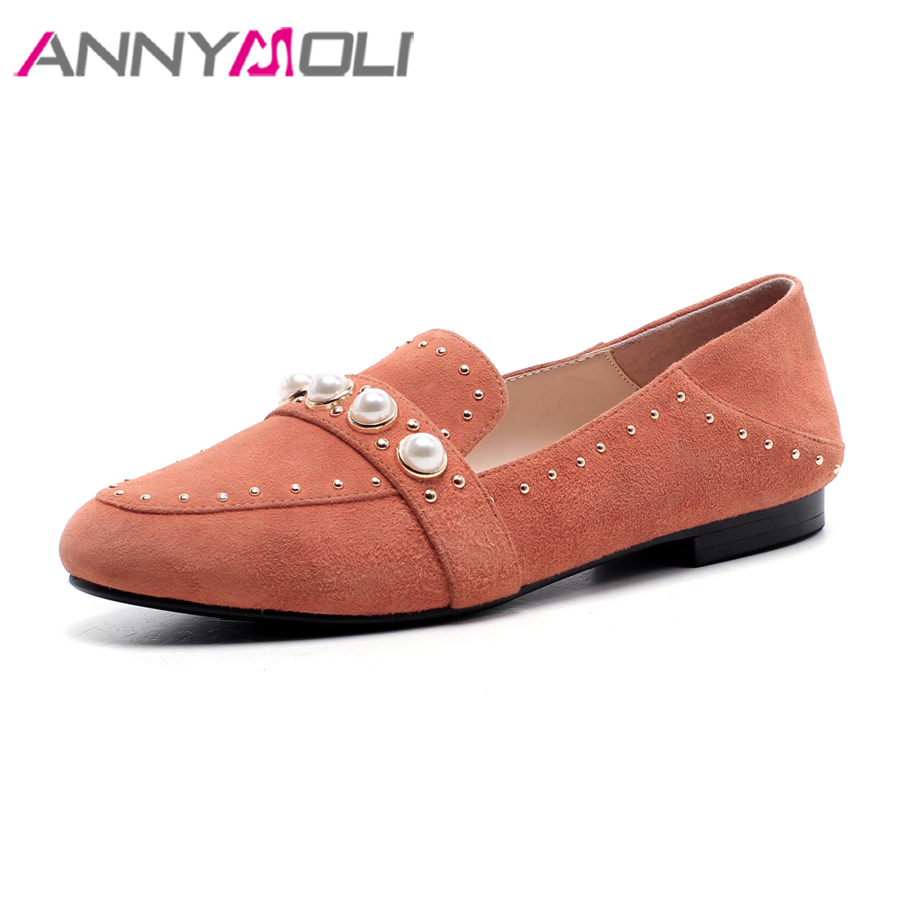 ANNYMOLI Genuine Leather Shoes Women Moccasins Slip Loafers Flats 2018 Shoes Casual Pearls Studded Flats Slip On Shoes Spring women s genuine leather slip on loafers brand designer flats moccasins leisure espadrilles antiskid comfortable shoes for women