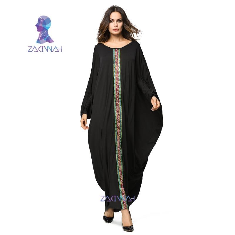 Casual Bat Sleeve Dressing Gowns For Women Muslim Plus Size Maxi Long Dress Arab Dubai Ramadan clothing