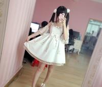 Japanese Descent Summer Lolita Fresh Lace Printing Dress Girl Fairies Cute White Black Sweet Mori Girl
