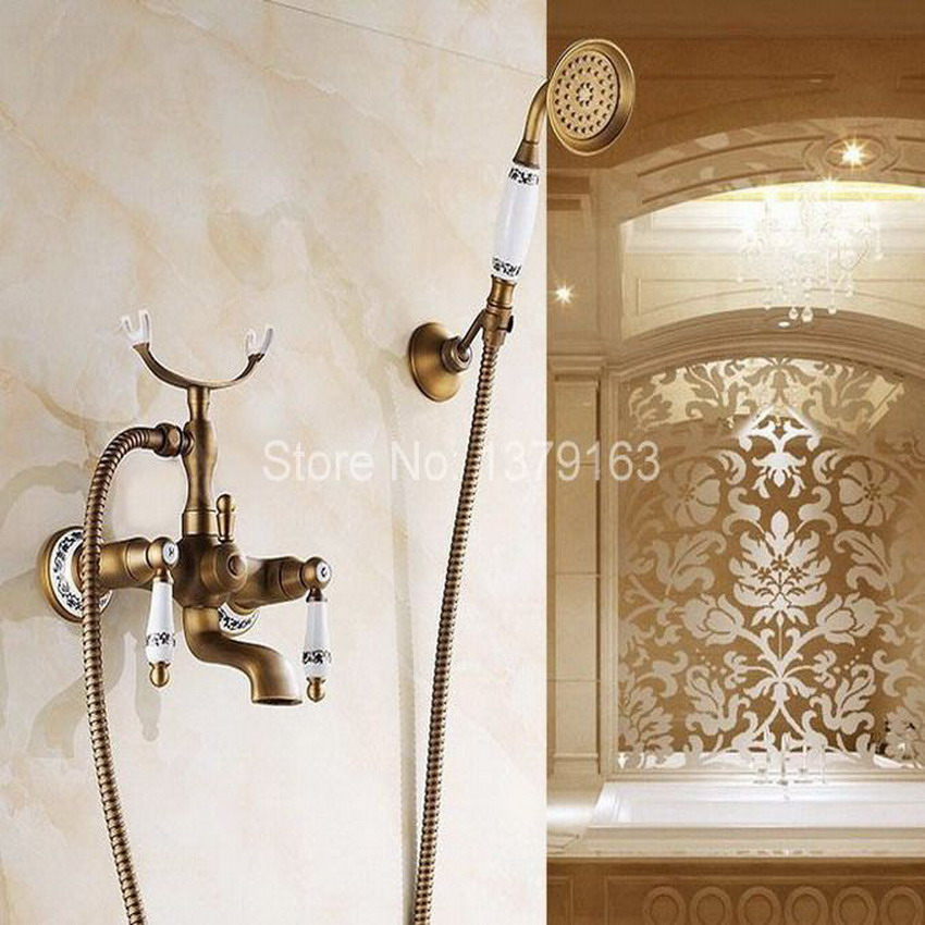 Antique Brass Wall Mounted Bathroom Tub Faucet Dual Ceramics Handles Telephone Style Hand Shower Clawfoot Tub Filler atf308 antique brass wall mounted bathroom tub faucet dual ceramics handles telephone style hand shower clawfoot tub filler atf018