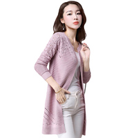 Spring And Summer New Women Knitted Long Sweater Knitted Cardigans Hollow Out Korean Shawl Slim Was