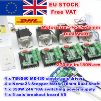 [EU/RU/US/CN Delivery] 4 Axis Nema23 76mm Stepper Motor(Dual Shaft)270Oz in &MD430 Driver&350W 24V Power Supply Milling Machine