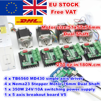 [EU/RU/US Delivery] 4 Axis Nema23 76mm Stepper Motor(Dual Shaft)270Oz-in &MD430 Driver&350W 24V Power Supply Milling Machine image