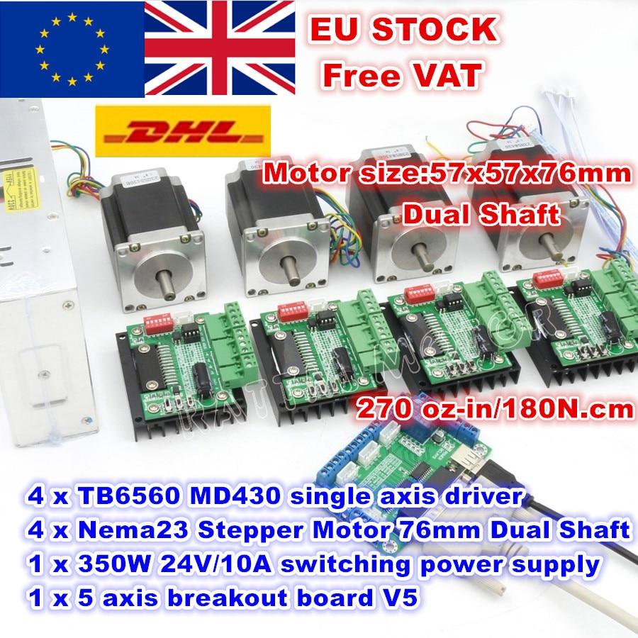 [Livraison EU/RU/US/CN] moteur pas à pas 4 axes Nema23 76mm (double arbre) moteur pas à pas 270Oz-in & MD430 et fraiseuse d'alimentation 350W 24V
