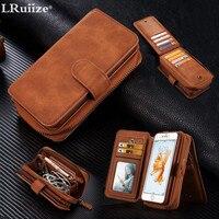 LRuiize Luxus-business-stil Flip Book abdeckung Kartenhalter Vintage Ledertasche Für Apple iphone 6 6 S/Plus