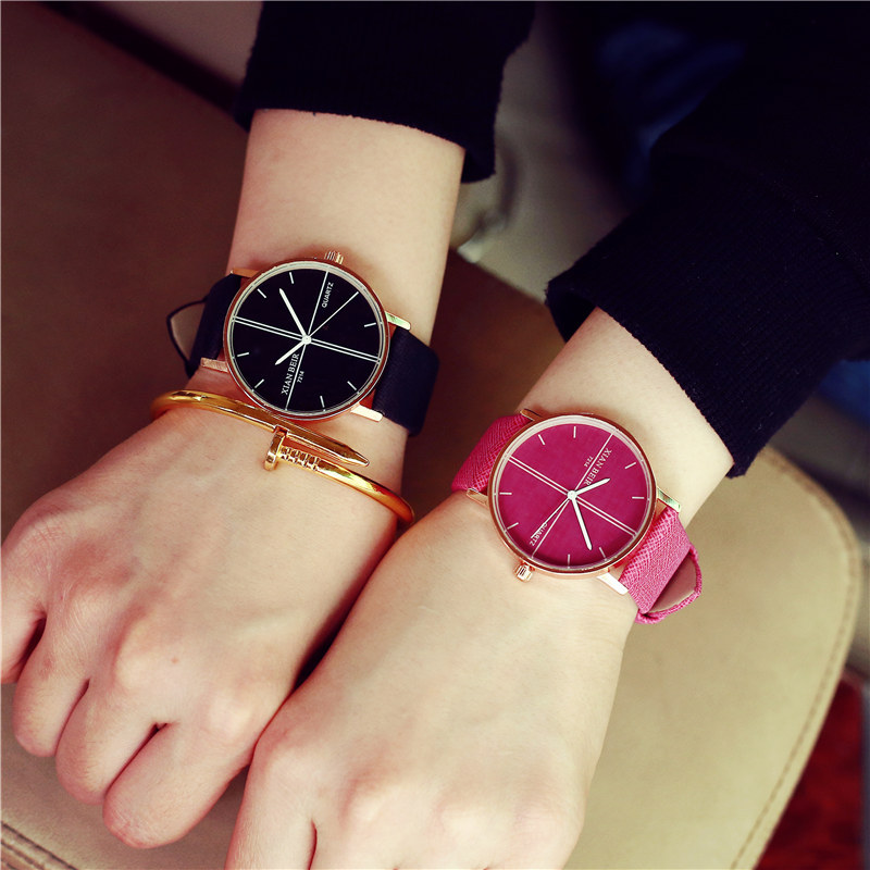 Fashuion Cute Rose Gold Shell Brand Simple PU Leather Watch Wristwatches for Women Ladies Girls Black