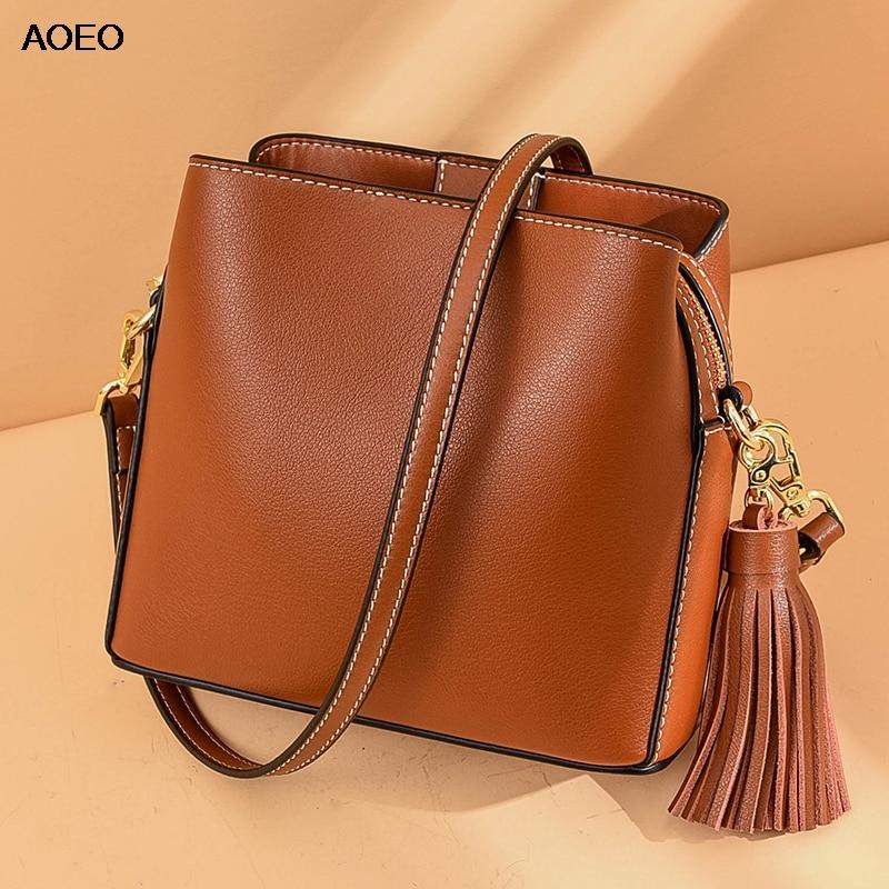 AOEO New Elegant Shoulder Bag Women Bucket Tassel Buckle Zipper Top Quality Split Leather Three Pockets