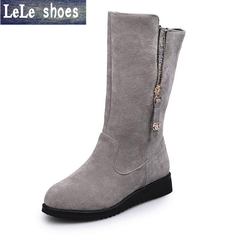 2016 New Winter Women Snow Boots Suede Leather With Fur Warm Mid-Calf Zipper Big Size Platform Boots Zapatos Mujer Ladies Shoes hot genuine leather women artificial rabbit fur snow boots high platform ladies wedges heels mid calf boots suede rivets shoes