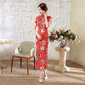 Free shipping Keyhole Short Sleeve Floral China Qipao Dress vintage chinese style cheongsam dress Chinese Long dress 6 Style